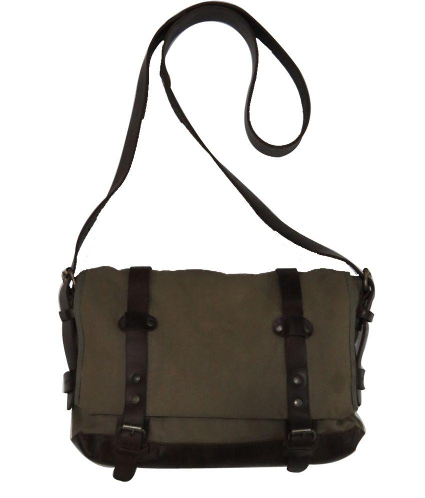 Simran Impex Khaki Leather Messenger Bag