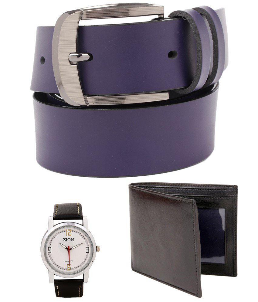 Tryzion Pleasing Combo Of Belt, Watch & Wallet For Men