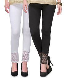 Esszee White and Black lace plazzo Leggings(Cotton Lycra - 4 Way Stretchable)