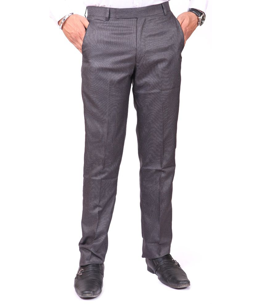 American-Elm Gray Poly Viscose Formal Trouser