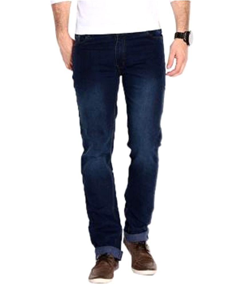 Friends Like You Blue Cotton Blend Regular Fit Jeans for Men