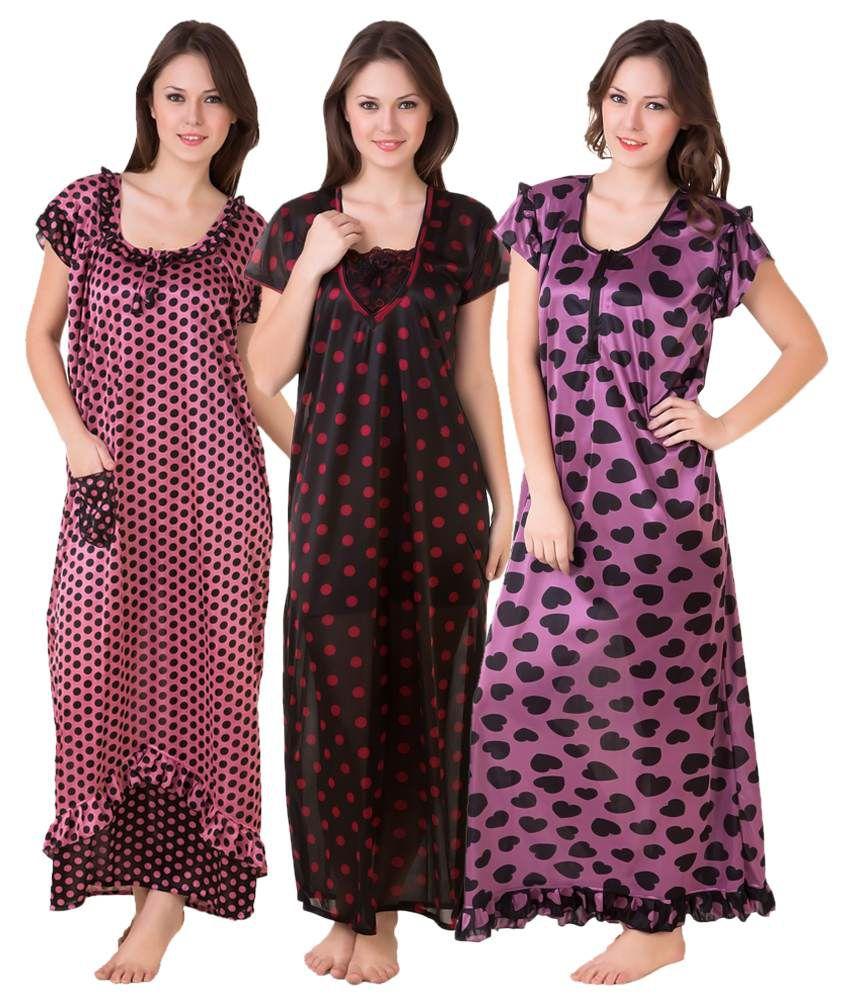 9b36e8e413e Masha Multi Color Satin Nighty & Night Gowns Pack of 3