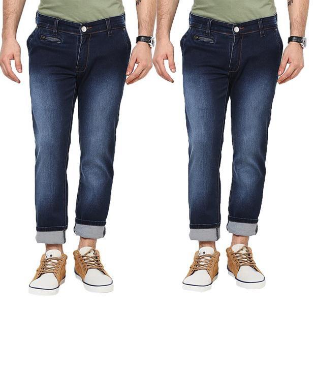 Zaab Combo Of Dark & Light Blue Slim Fit Jeans