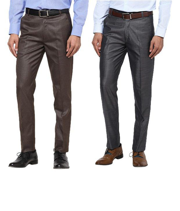 Zaab Outstanding Gray & Brown Formal Trousers Pack Of 2