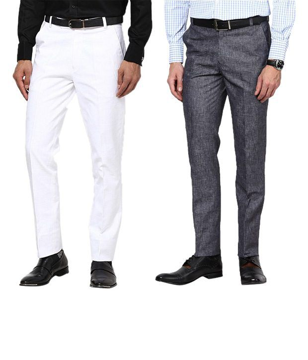 Zaab Radiant White & Gray Formal Trousers Pack Of 2