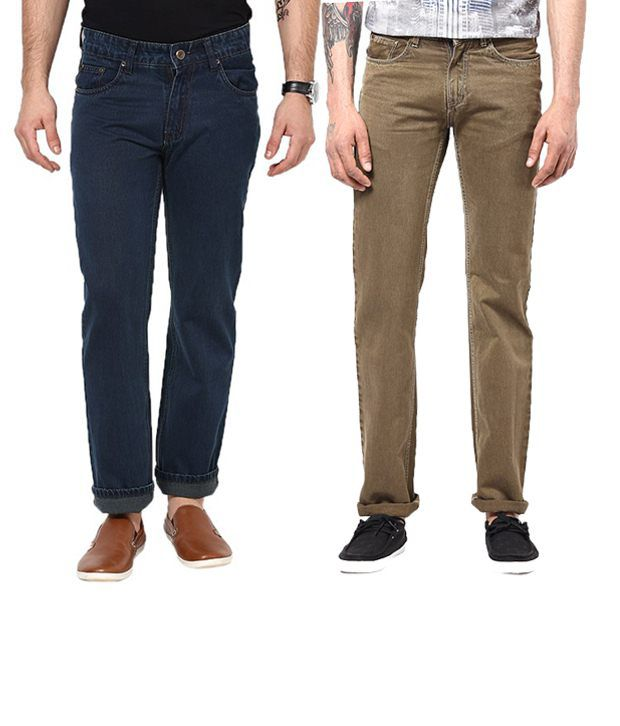 Zeco Combo Of Blue & Dark Khaki Regular Fit Jeans
