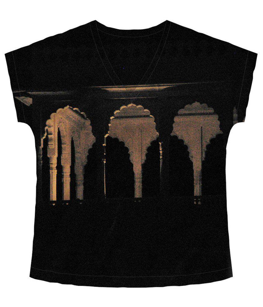 Freecultr Express Black & Beige Carved V Neck Printed T Shirt