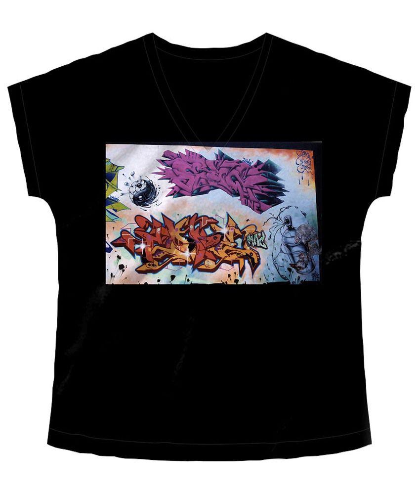 Freecultr Express Black Graphiti V Neck Printed T Shirt
