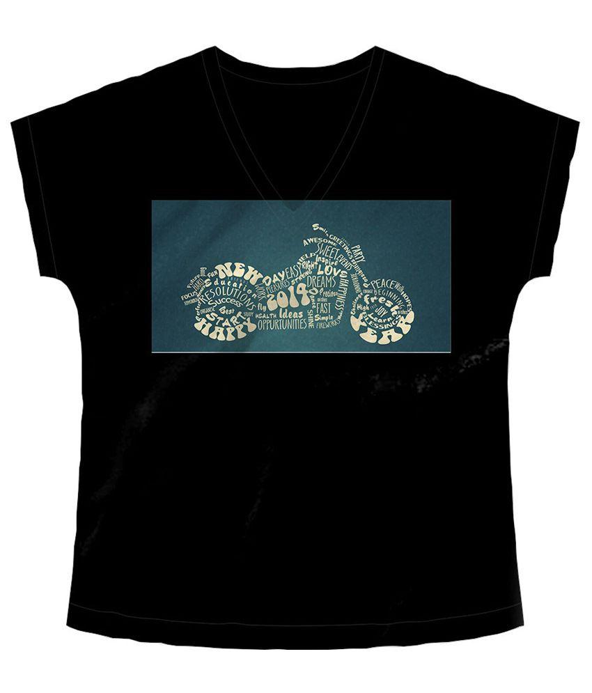 Freecultr Express Black & Green Bike Art V Neck Printed T Shirt