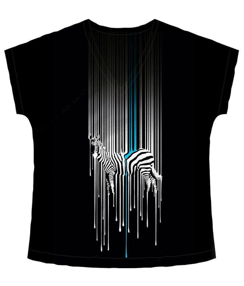 Freecultr Express Black & White Zebra Printed T Shirt