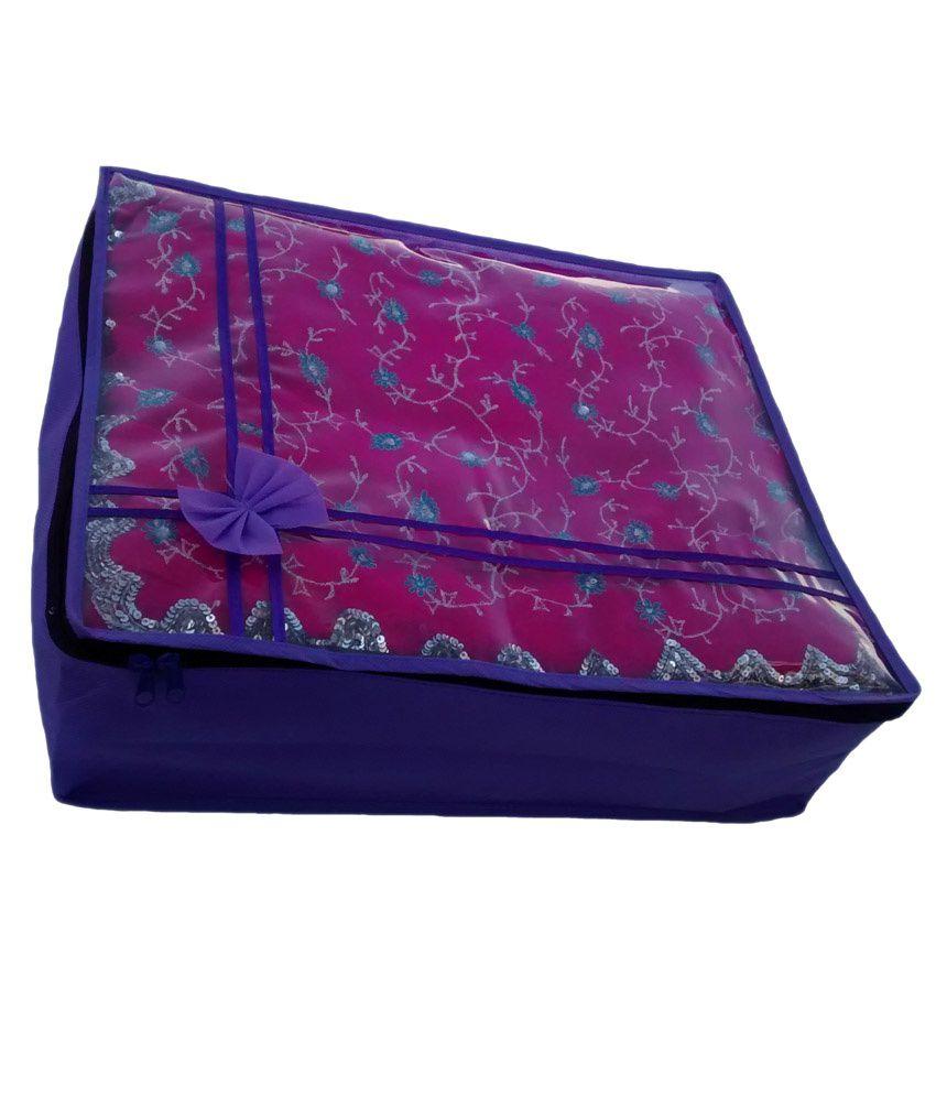 Indi Bargain Non Woven Transparent Designer Multi Saree Cover (5-10 Sarees Capacity)