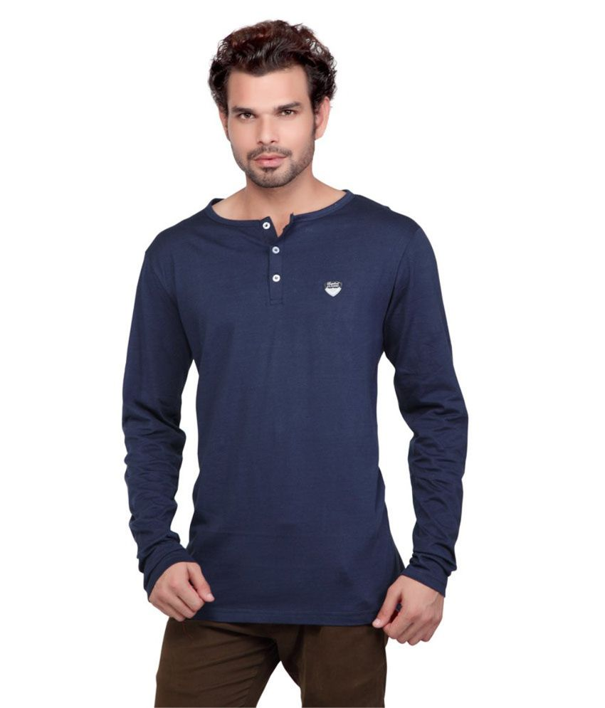 d112cc5c5 Kkr Yarns And Fabrics Blue Cotton Blend Round Full Sleeves T-Shirt - Buy Kkr  Yarns And Fabrics Blue Cotton Blend Round Full Sleeves T-Shirt Online at  Low ...