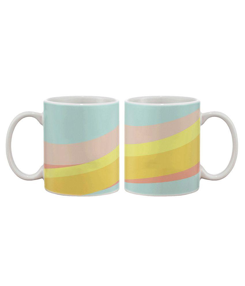 Artifa Yellow and Pink Abstract Coffee Mug