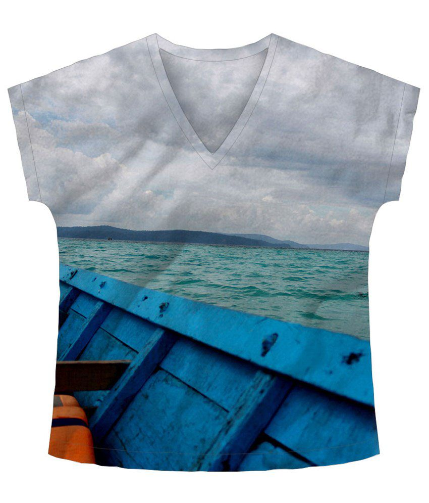 Freecultr Express Blue & Gray Water Printed T Shirt