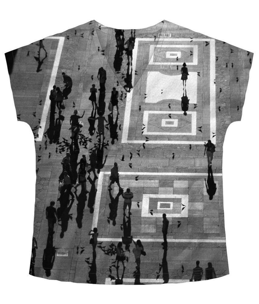 Freecultr Express Gray & White Sky View V Neck Printed T Shirt