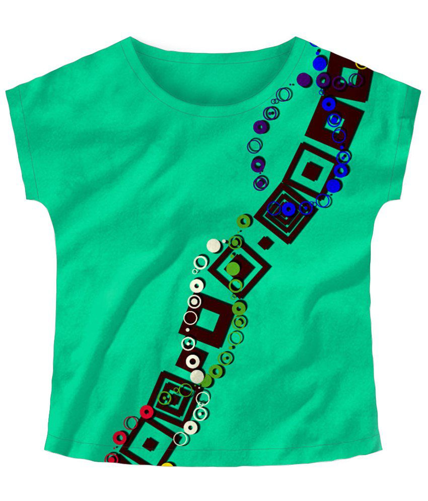 Freecultr Express Green Winding Boat Neck Printed T Shirt