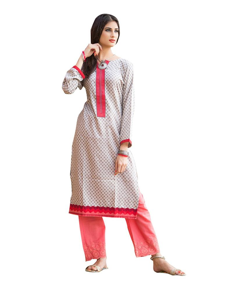 HM Trends Multicolor Printed Cotton Dress Material