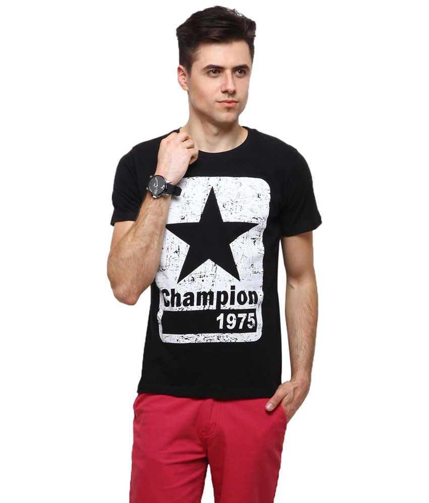 Yepme Classy Black Champion 1975 Printed T Shirt