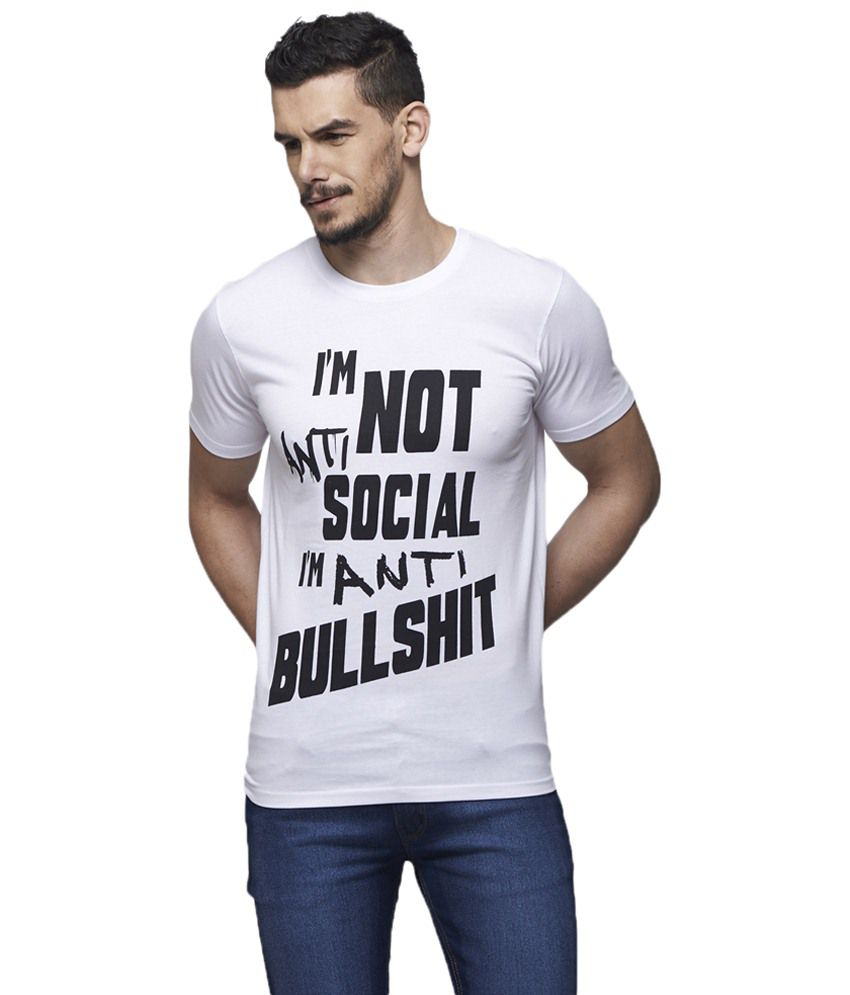 Yepme Soothing White Anti Social Quotes T Shirt