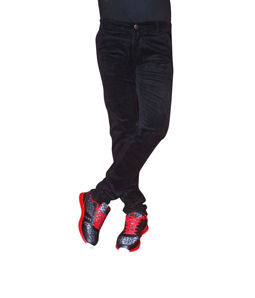Attantion Black Cotton Relaxed Fit Basic Style Jeans