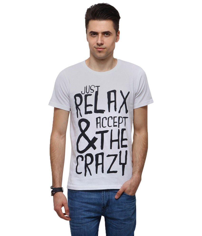 Yepme Captivating White Relax & Crazy Quotes T Shirt