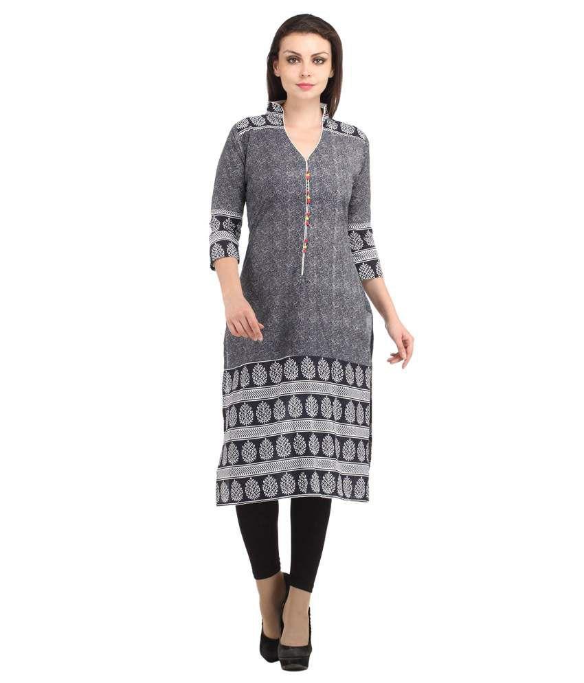 Dee's By Dashmesh Navy Printed Cotton Long 34th Sleeves Kurti