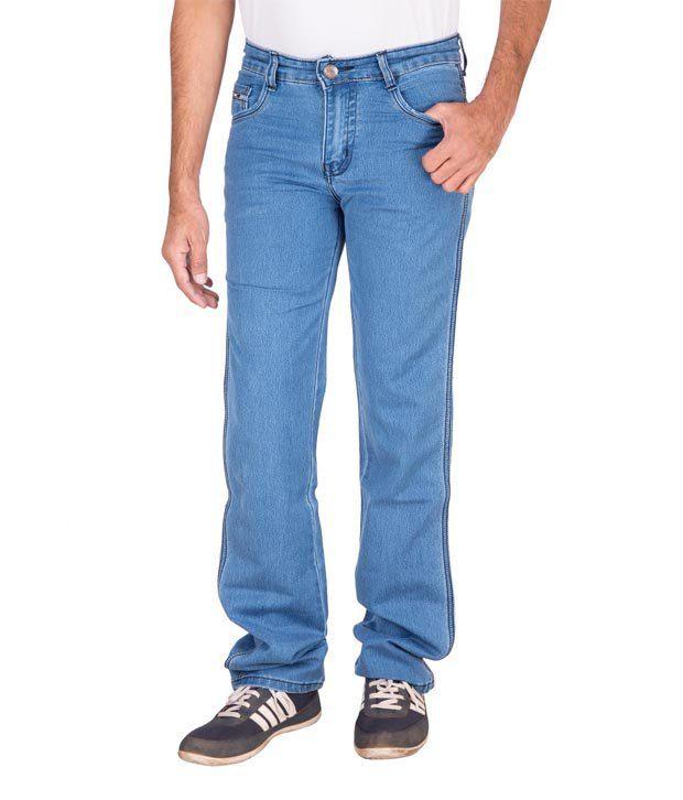 Fame Blue Cotton Regular Fit Basics Jeans
