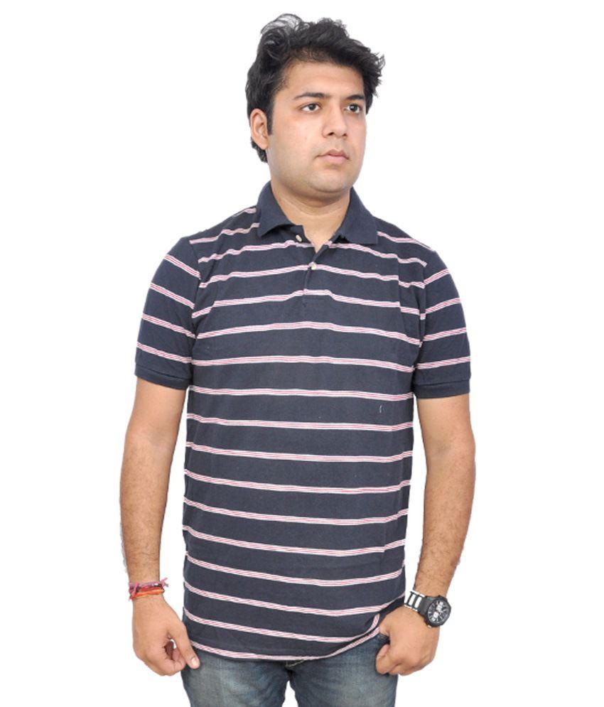 London Multi Cotton V-Neck Stripers T Shirt