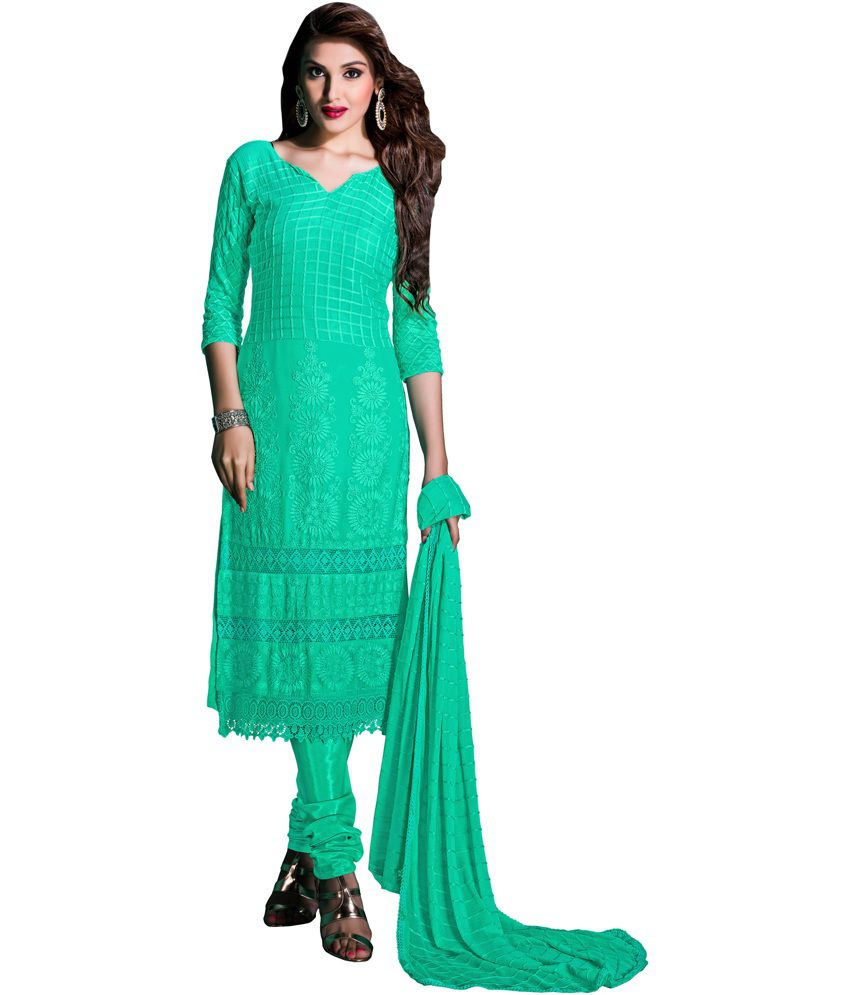 Plus Creation Green Georgette Unstitched Dress Material