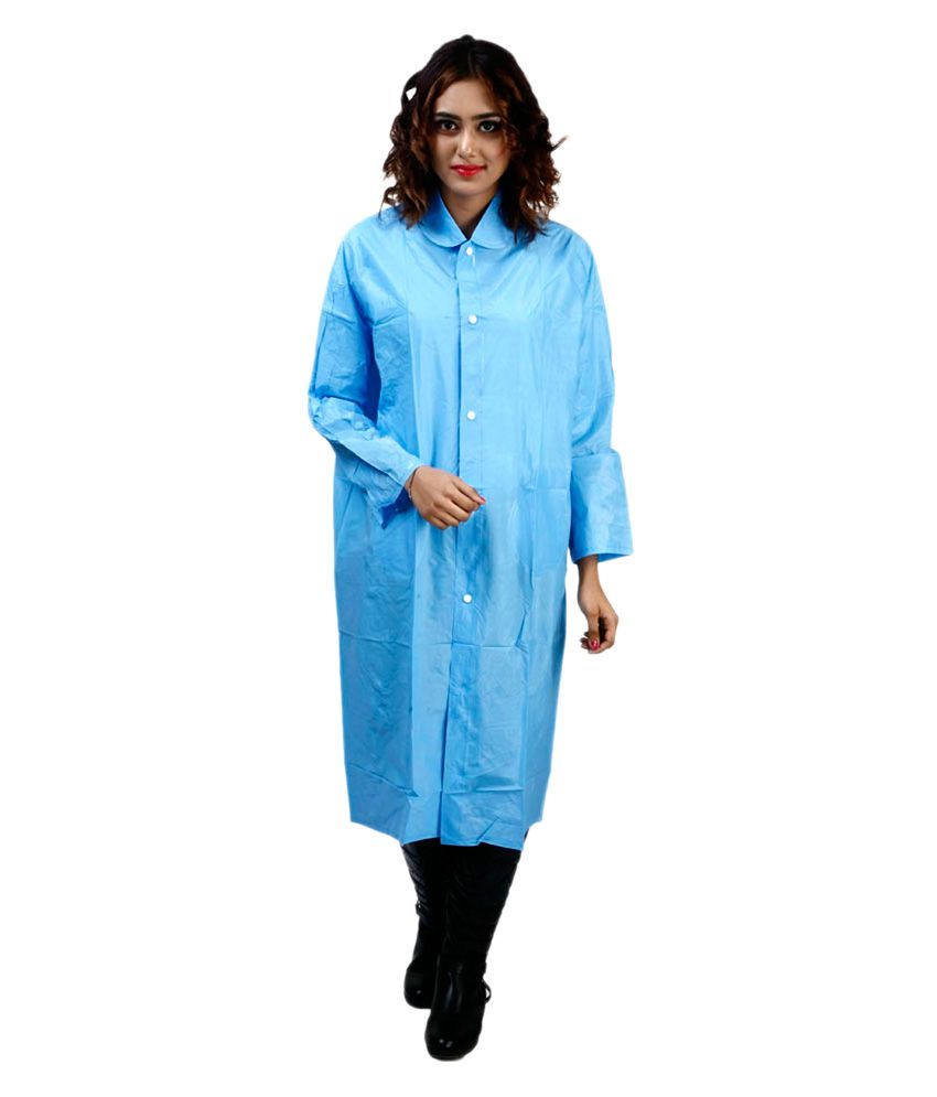 Rainfun Blue Waterproof Long Raincoat