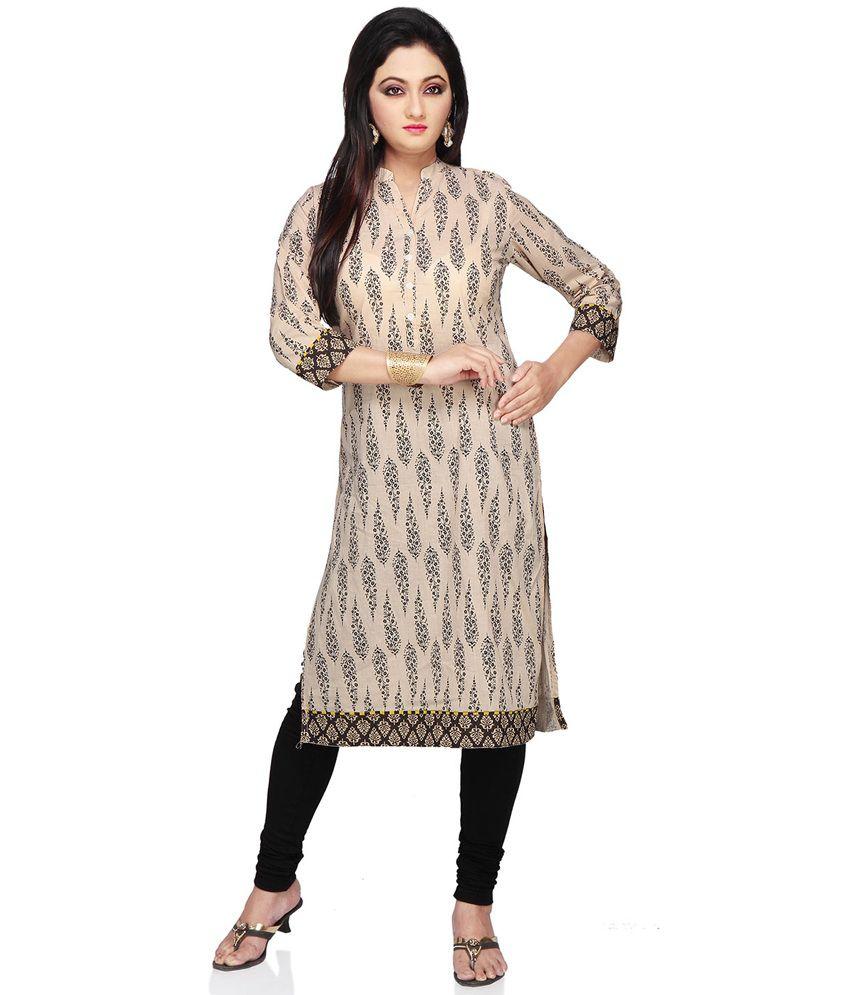 Vastra Vinod Beige Printed Cotton kurti
