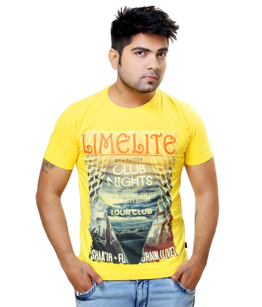 Lime Lite Yellow Cotton Half Sleeves Round Neck T Shirt