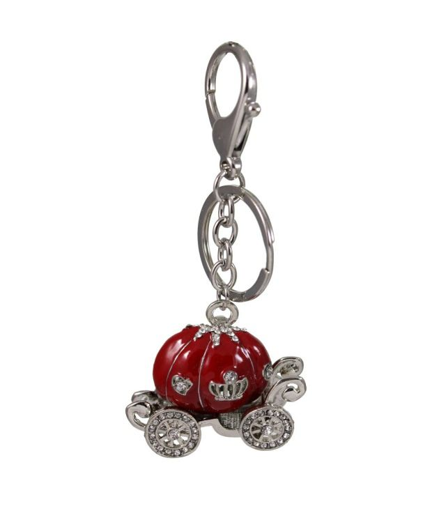 Tootpado Crown Buggy - Red - Stylish Stone Metal Keychain Key Ring Chain