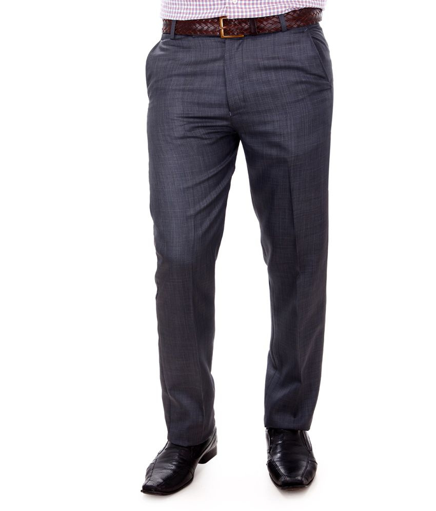Addiction Shale Grey Poly Viscose Men Formal Trouser