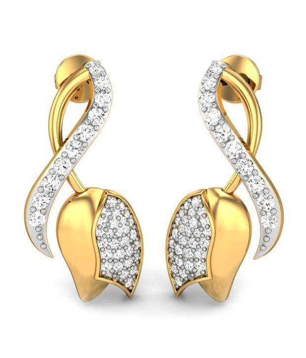 Diaashi Contemporary Gold And Diamond Studs