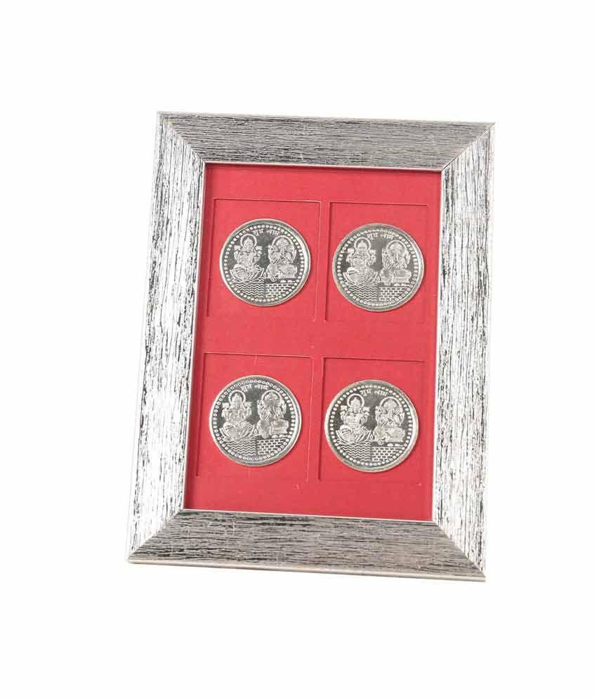 Jewel Fuel Laxmi Ganesha Silver 4 Coin Frame