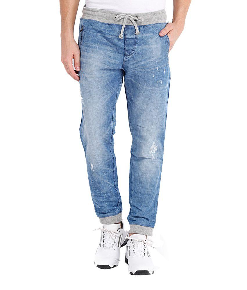Locomotive Blue Cotton Relaxed Fit Joggers Denim Jeans Jogger ...