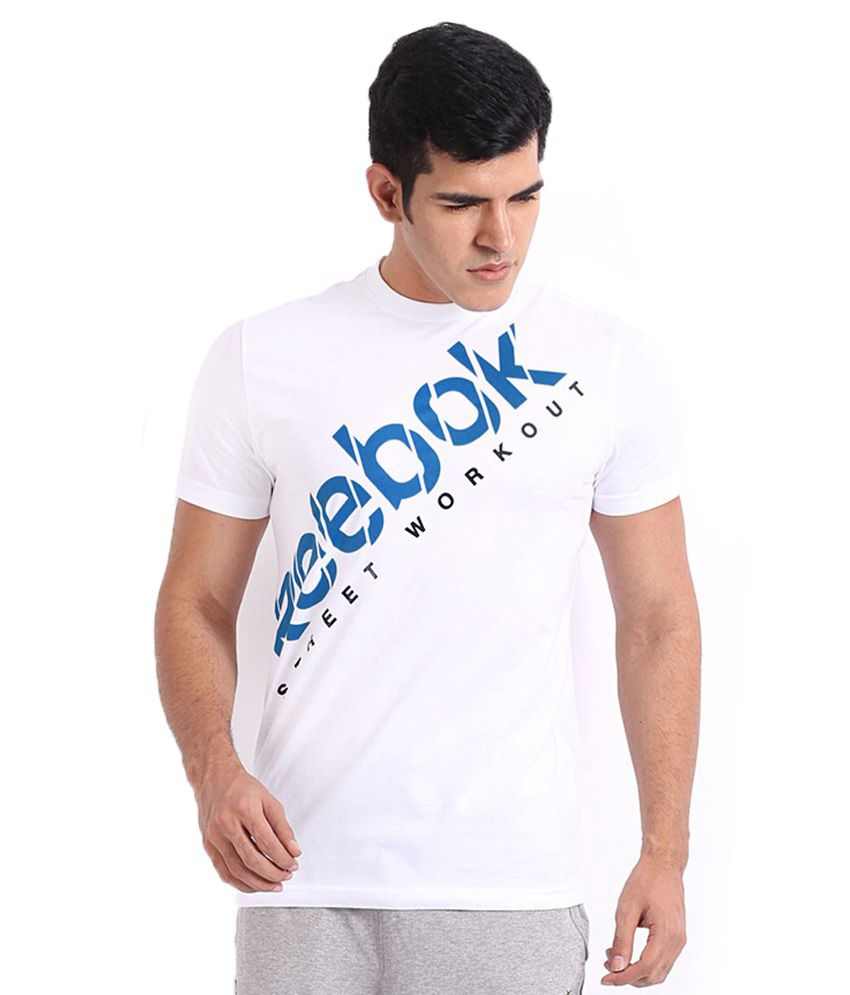 Reebok White Cotton Printed T Shirt