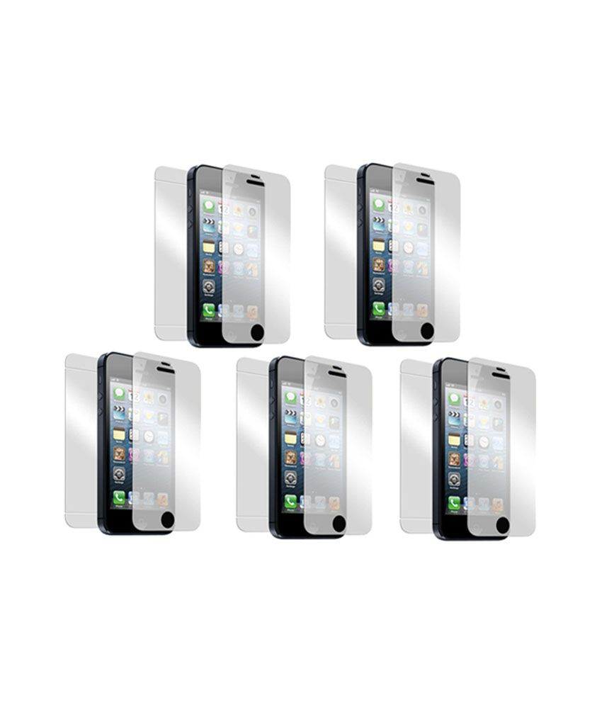 Saadgi Collections Stunning Bubble Proof HD Screen Guard For Apple iPhone 4 - Pack of 5