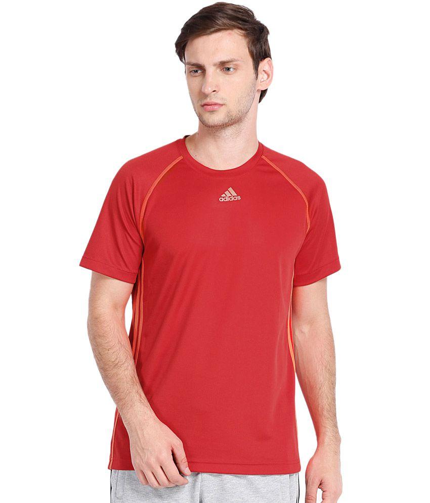 Adidas Orange Polyester Round Neck Half Sleeves T-shirts