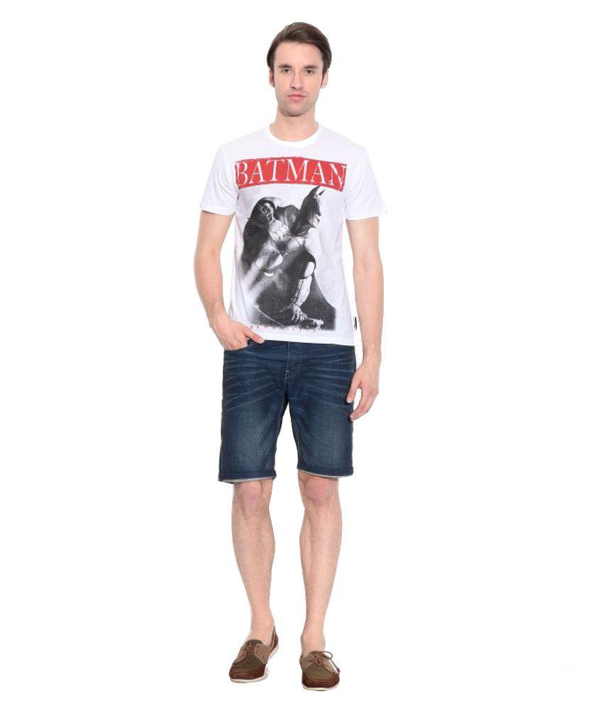 Batman White Cotton Printed T-Shirt