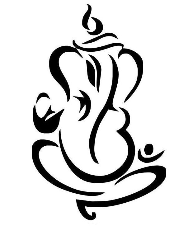 Studio Briana Black Abstract Ganesha Line Vector Wall