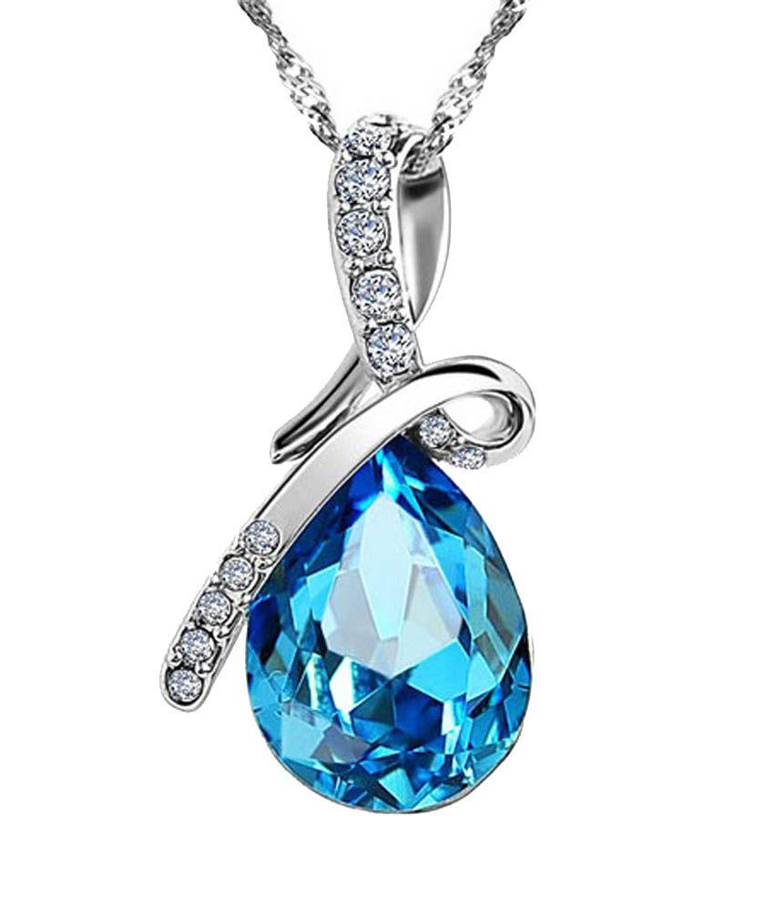 Epicuria Tech Solutions Blue Crystal Water Drop Pendant Necklace