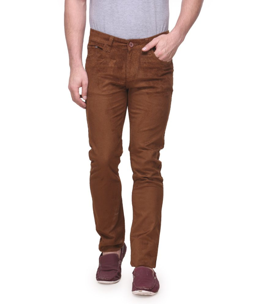 Fever Brown Cotton Lycra Chinos
