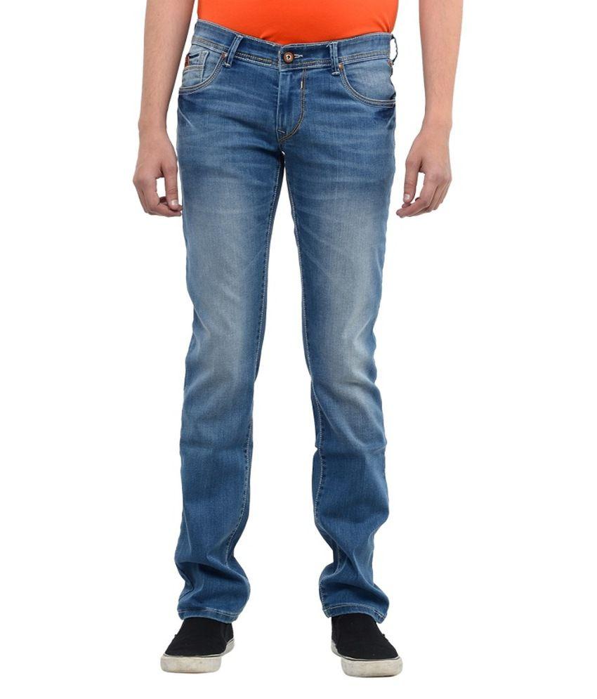 Hard Currency Blue Cotton Blend Slim Fit Jeans