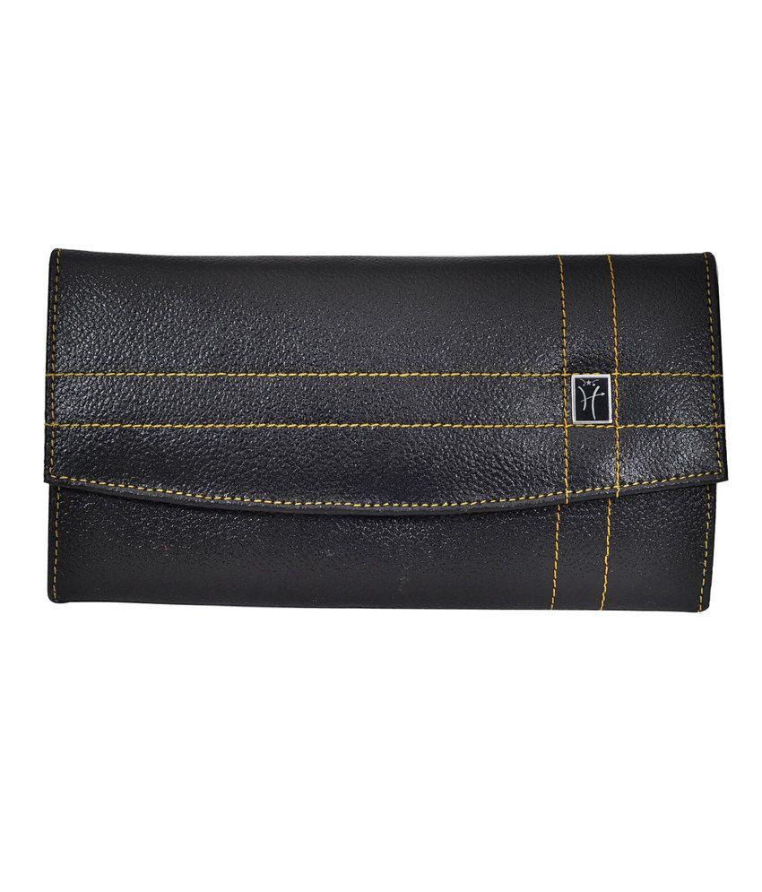 Hawai Black Leather 6 Card Slot Wallet