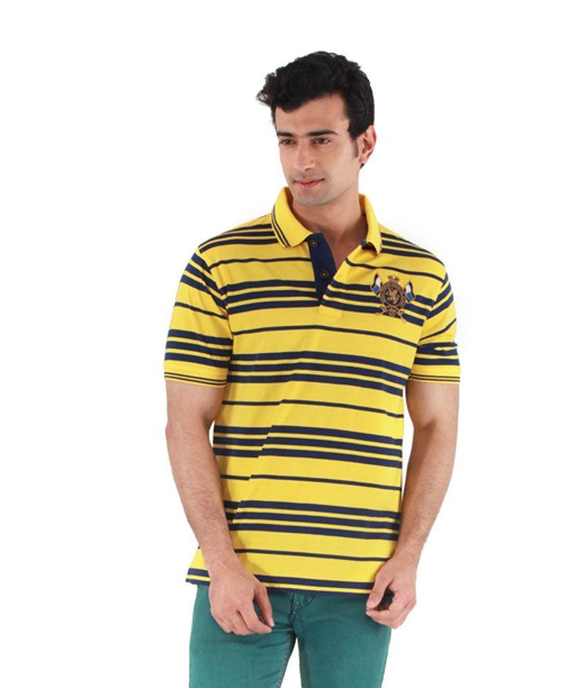 Mudo Yellow Cotton Half Henlay T shirt