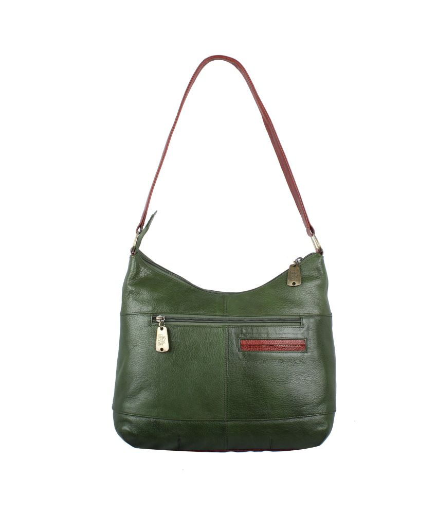 Spazio Leather Green Leather Shoulder Bags