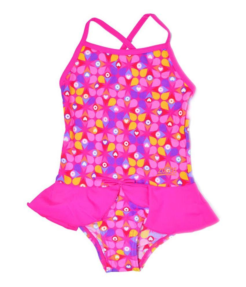 Zoggs Girls Ellis X Back Swimwear Pink23 13929723/ Swimming Costume