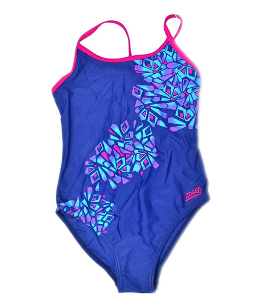 Zoggs Jewel Reef Spliceback Girls Swimwear Blue26 20665126/ Swimming Costume